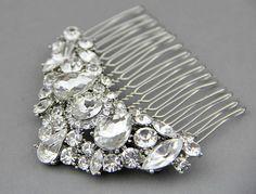Bridal hair comb. Crystal #Wedding #jewelry ,#Vintage inspired crystals wedding hair accessory. $66.00, via Etsy.