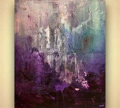 Large Purple Abstract Art Contemporary Acrylic by OsnatFineArt