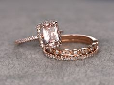 Morganite Bridal Ring Set,Engagement ring Rose gold,Diamond wedding Cut,Gemstone Promise Ring,Pave from popRing on Etsy. Ring Rosegold, Rose Gold Morganite Ring, Morganite Engagement, Engagement Ring Settings, Engagement Rings, Bridal Ring Sets, Bridal Rings, Ringa Linga, Sterling Silver Wedding Rings