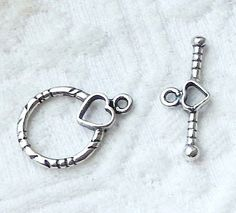 NWOT .925 Sterling Silver Heart Toggle Clasp #Unbranded