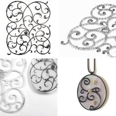 I've recently started using CAD and 3D printing as a way to explore my ideas and as an addition to my handmade aesthetic. This sequence shows an 18th Century German Wrought Iron panel in the V&A collection. I made a CAD drawing of the piece and had it printed on miniature scale. This was then dismantled after some design work and transferred into silver jewellery pieces. The oxidised silver references the original black of the ironwork. @marianneanderson #Etsy #EtsyShop #EtsyTeam…
