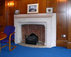 School of Nursing and Midwifery Portland stone fireplace, Director's meeting room.