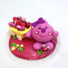 Valentine's Day Lolly with Hearts & Wagon Polymer Clay Figurine by KatersAcres