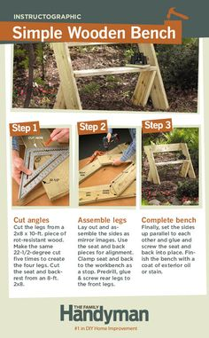 DIY Tutorial: How to Build a Simple Wooden Bench. This is an easy & affordable DIY project that you can finish in a day.