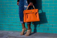 Come to mama! Peony Lim, Hermes Orange, Sweet Bags, Kelly Bag, Hermes Birkin, Hermes Kelly, Bucket Bag, Denim, Shoes
