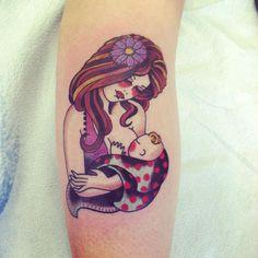 nursing mother, gypsy style tattoo, by brent kye at the yellow rose tattoo club Parent Tattoos, Baby Tattoos, Nurse Tattoos, Mommy Tattoos, Tatoos, Wall Tattoo, I Tattoo, Tattoo Skin, Breastfeeding Tattoo