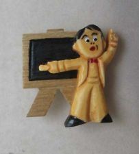Carved School Teacher Button or Pin Vintage Bakelite & Wood Professor Elfrink