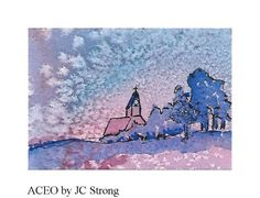 ACEO Watercolor & Ink Original Landscape Miniature by jcstrong