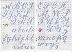 alfabeto punto croce corsivo azzurro