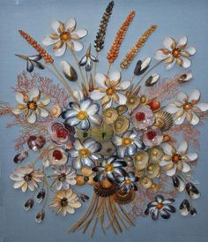 A COLLECTION OF FIVE VERY UNUSUAL SHELL PICTURES,  each in the form of colourful floral arrangement, against various coloured backgrounds, within painted glazed box frames, the largest 28.75in (73cm)h x 22.25in (57cm), the smallest formed as a garland of flowers, hanging from bows, 16in (41cm)h x 23in (59cm)all constructed with numerous species of sea shells . (5)