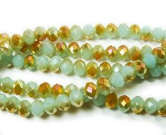 """Mint green glass faceted rondelle beads with gold AB finish (6x8mm, 72 beads, 17.5"""") at GIFTSJOY.COM"""