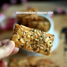 Amongst all the wonderful yummy Chinese New Year Chinese snacks, this is the lesser evil. It is made of almond flakes, sunflower seeds and s. Granny's Recipe, Ganache Recipe, New Year's Food, Good Food, Chinese New Year Cookies, Cookie Recipes, Dessert Recipes, Bread Recipes, Biscuits