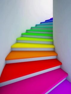 "Rainbow stairs I would like to have these stairs in my house. When they ask: ""where are you?"" you could answer: at the cool stairs of the 1st floor on exactly the color red (or pink or green or....whatever) I would really like to have this one!!! It would make my day ! colors, red, orange, yellow, green blue purple, pink, red, stairs, house, inside, art, idea, fun"