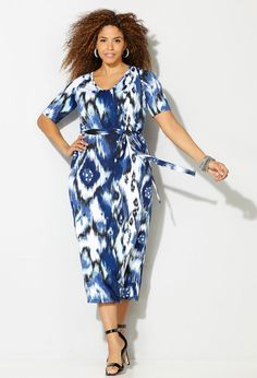 Shop interesting patterned midi dresses like our plus size Tribal Maxi Dress available online at avenue.com.