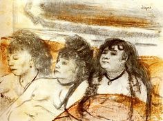 Edgar Degas - Trois filles assises de face - Pastel sur monotype