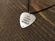 Bad Girls silver guitar pick Custom Guitar Pick Music | Etsy Custom Guitar Picks, Girls World, Bad Girls, Music Lovers, Dog Tag Necklace, Pendant Necklace, Sterling Silver, Gifts, Etsy