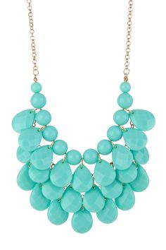 Mint Teardrop Statement Necklace by t+j Designs Jewelry Box, Jewelery, Jewelry Accessories, Fashion Accessories, Fashion Jewelry, Jewelry Making, Jewelry Watches, Teal Necklace, Teardrop Necklace