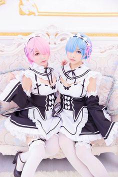 re+zero+twin+maid+rem+ram+cosplay+girls+cute.jpg (640×960)