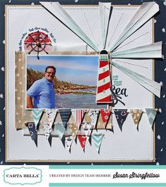 "By the Sea Layout featuring the ""Ahoy There"" Collection AND ""Whale of a Tale"" Designer Stamps. #cartabellapaper"