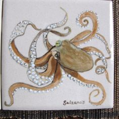 Coastal Living Ceramic Tiles all hand painted Seahorse by Salzanos