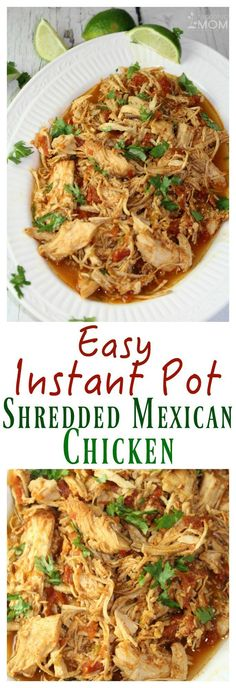 Modify for Paleo: Easy Instant Pot Shredded Mexican Chicken Slow Cooker Recipes, Crockpot Recipes, Cooking Recipes, Healthy Instapot Recipes, Healthy Pressure Cooker Recipes, Instapot Recipes Chicken, Vegetarian Recipes, Vegetarian Mexican, Meal Recipes