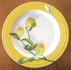 A yellow Citron plate by Porsgrund