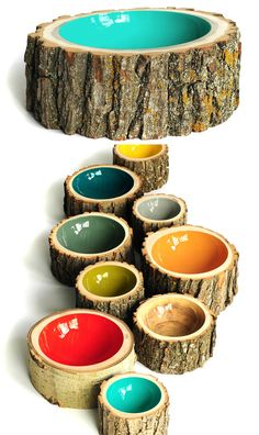 Cool Log Bowl.... This would be sweet for dog bowls!