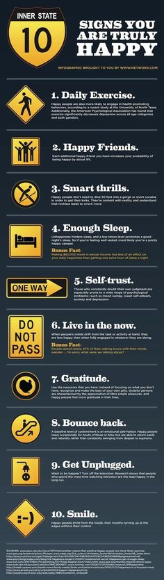 10 Signs You Are Truly Happy happy happiness infographic self improvement infographics self improvement infographics happiness infographics