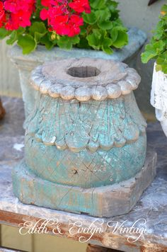 Antique Architectural Salvage Column Capital by edithandevelyn