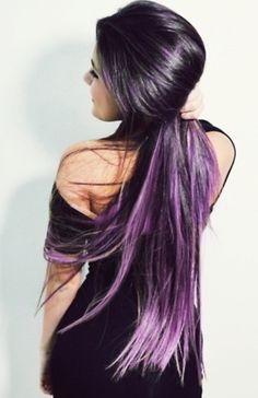 Black / dark / purple / hair / dip die / long hair