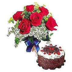 The Sweetest Affair - Korea. Steal someones heart with the luxury of long-stemmed roses and the sweetness of cake. Product contain bunch of 6 Res Roses, half kg Black Forest ca. Florist Supplies, Affair, Floral Wreath, Wreaths, Sweet, Flowers, Roses, Candy, Door Wreaths