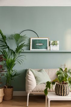 See the apartment when it was painted in color from the Lush Garden palette. Beautiful blue-g . - See the apartment when it was painted in color from the Lush Garden palette. Beautiful blue-green c - Living Room Green, Bedroom Green, Green Rooms, Living Room Paint, Living Room Colors, Living Room Decor, Decor Room, Bedroom Wall Colors, Home Decor Bedroom