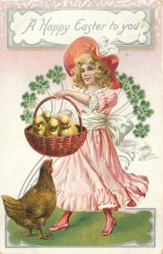 A HAPPY EASTER TO YOU  girl in pink dress holds basket of chicks, hen looks up at basket