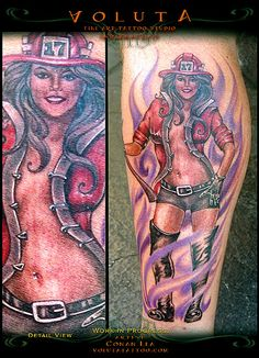 Sexy firefighter pin-up tattoo inked by Conan Lea of Voluta Tattoo.