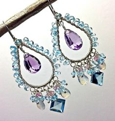 SALE 25 off  Blue Chandelier Earrings Amethyst by DoolittleJewelry, $92.50