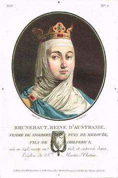 Brunehaut, Reine d'Australie, femme de Sigebert, puis de Merouée, fils de Chilperic I; née en 548; morte en 613, et enterrée dans l'église de St Martin d'Autan - peint et gravé par Sergent en 1791 - série JJJ n°5 - MAS Estampes Anciennes - Antique Prints