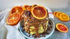 Pancakes cu urda si portocale rosii | Retetele mele dragi Plat Vegan, Raw Vegan Recipes, Biscotti, Waffles, Deserts, Breakfast, Food, Diet, Bebe