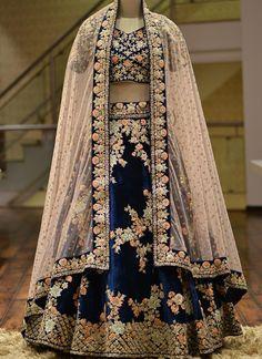 A Midnight Blue Velvet Zari Embroidered Bridal Lehenga Bridal Lehenga Online, Designer Bridal Lehenga, Indian Bridal Lehenga, Lehenga Choli Online, Indian Dresses, Indian Outfits, Eid Dresses, Pakistani Dresses, Raw Silk Lehenga