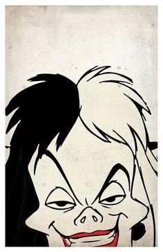 Villanos de Disney Poster Set de 6 Maléfica Ursula por PrintMadness