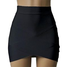 New Women Lady Sexy Bandage Mini Skirts High Waist Faldas Mujer Cortas Slim  Cross Fold Black Pencil Skirt jupe crayon femme 323b0cffa936