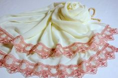 Lace Chiffon Scarf Bridal  Valentine's Day by MissSelinAccessories