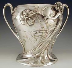 WMF Champagne Bucket with Figural Maiden, Germany, 1906. Silver Plate on pewter. Art Nouveau decoration.