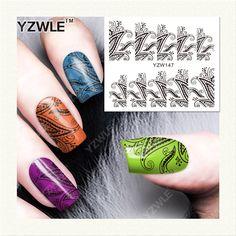 YZWLE 1 시트 DIY 데칼 손톱 아트 물 전송 인쇄 스티커 액세서리 매니큐어 살롱 (YZW-147)