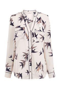 Oasis, BIRD PIPED SHIRT Multi Natural 0
