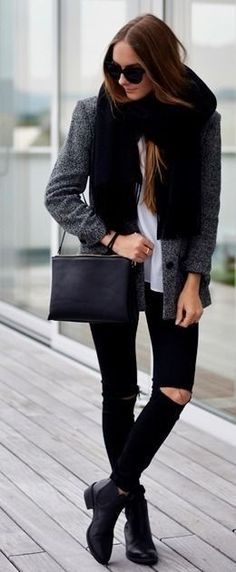 Winter street style: ripped jeans, grey jacket, boots #fashion #inspiration
