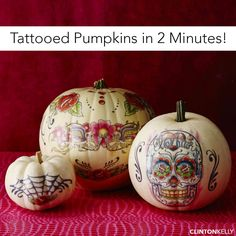 Transform your pumpkins in 2 minutes with a temporary tattoo! Genius!