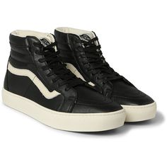 Vans SK8-Hi Cup CA Leather High-Top Sneakers ($125) ❤ liked on Polyvore featuring mens, men's shoes and men's sneakers