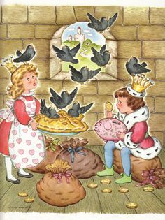 "vintage 1964 book illustration, ""Sing a Song of Sixpence, a pocket full of rye, Four and twenty Blackbirds baked in a pie"""
