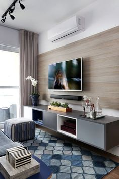 Home Decorating Style 2019 for Living Room Tv Wall Ideas, you can see Living Room Tv Wall Ideas and more pictures for Home Interior Designing 2019 at Best Home Living Room. Living Room Tv Unit, Small Living Rooms, Home Living Room, Apartment Living, Modern Living, Modern Tv, Living Area, Modern Design, Room Interior