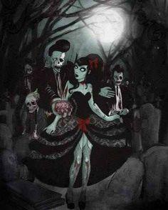 PsychObilly zOmbies at night. Zombies, Arte Zombie, Evil Dead, Rockabilly Art, Rockabilly Fashion, Zombie Prom, Zombie Girl, Zombie Dance, Halloween Zombie